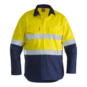 Stubbies Vented LS Taped Hi Vis Work Shirt
